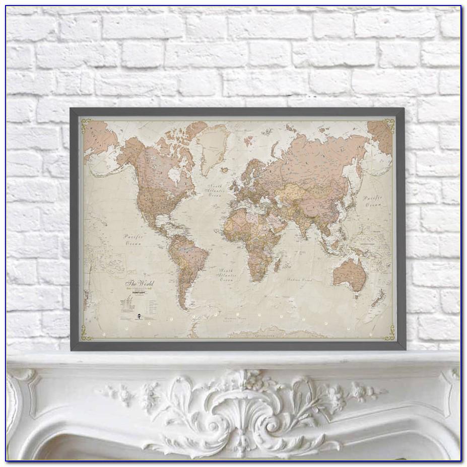 Vintage Framed Maps Of The World