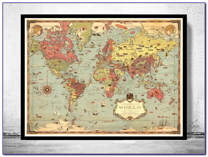 Vintage Old World Map Framed