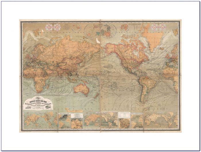 Framed Old World Map Map Antique Baur Bromme World Atlas Framed Print F12x3470