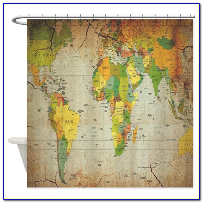 Vintage World Map Curtains