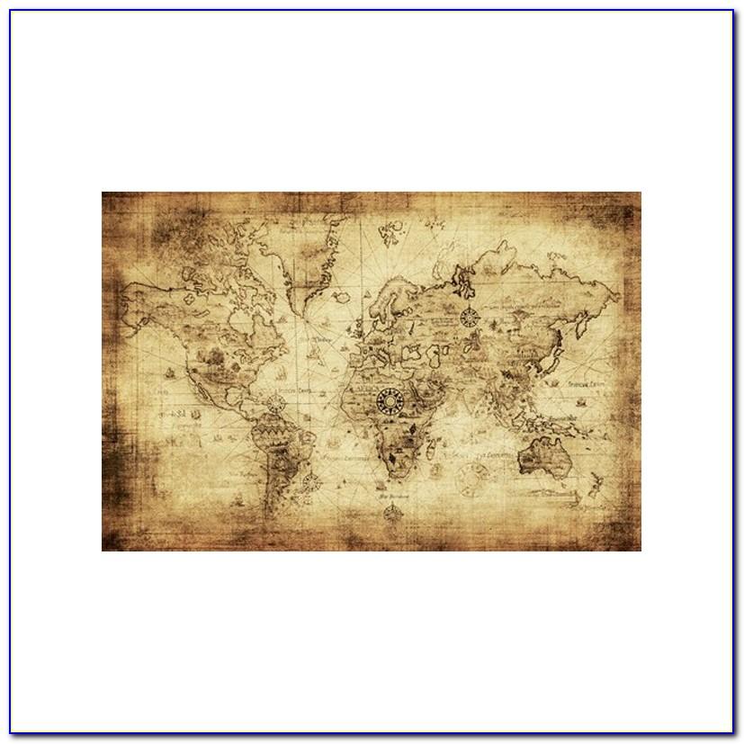 Vintage World Map Framed Art
