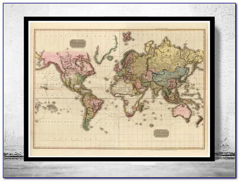 Vintage World Map Framed Picture