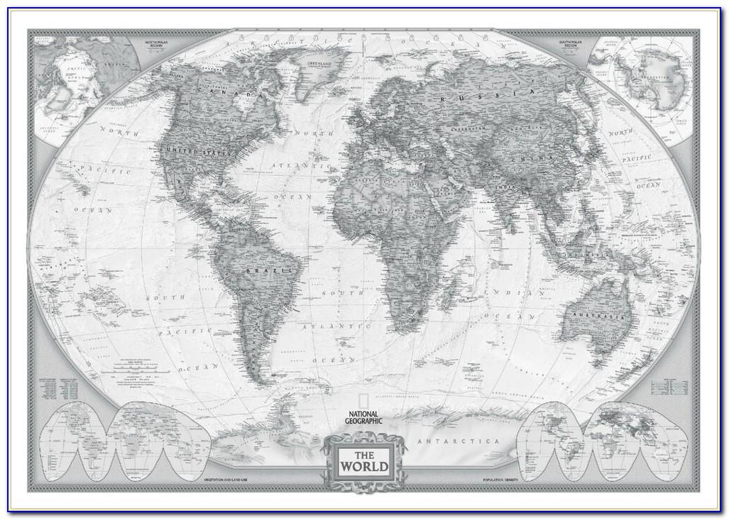 Vintage World Map Poster Large