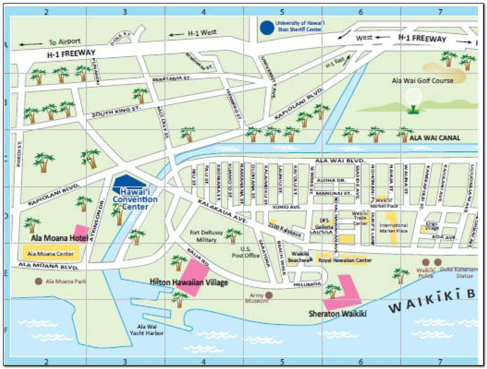 Waikiki Hotels Location Map