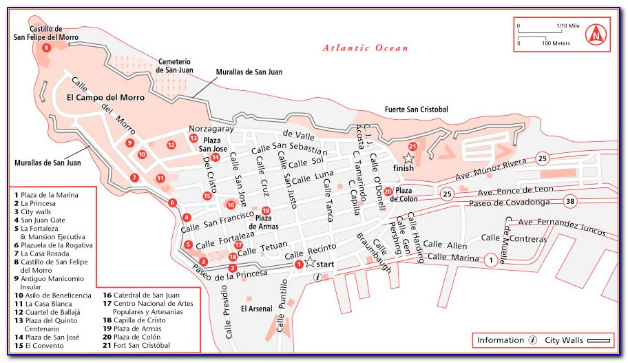 Walking Tour Map Of Old San Juan Puerto Rico