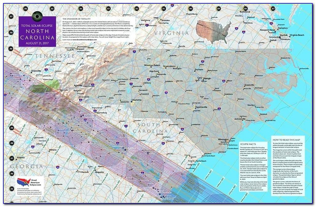 Wall Map Of North And South Carolina