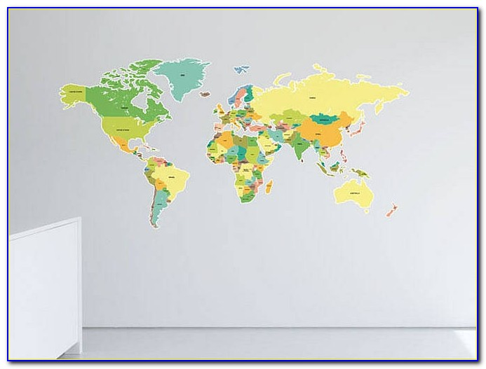 Wall Sticker World Map Animals