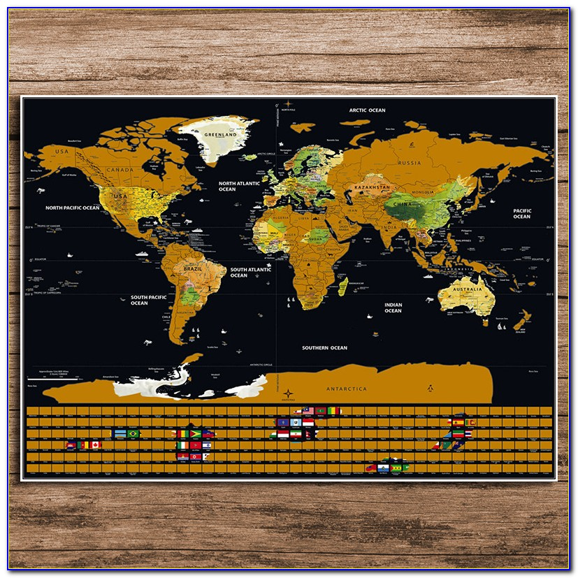 White And Gold Scratch Map