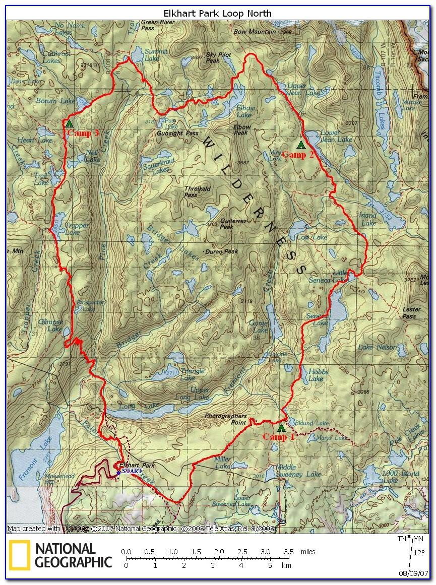 Wind River Range Hiking Trail Map
