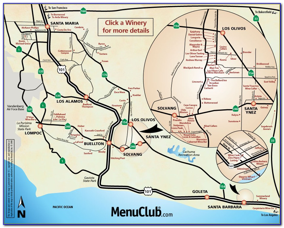 Wineries In Santa Barbara County Map
