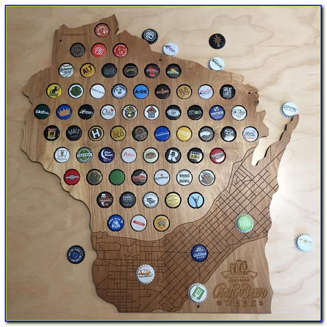 Wisconsin Bottle Cap Map