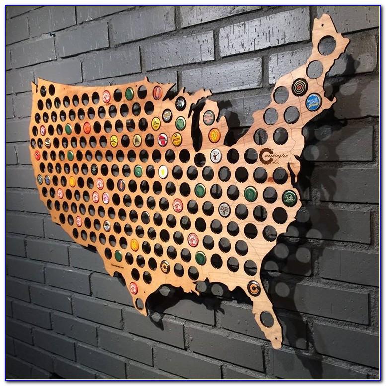 Wooden Shoe Designs Beer Cap Map