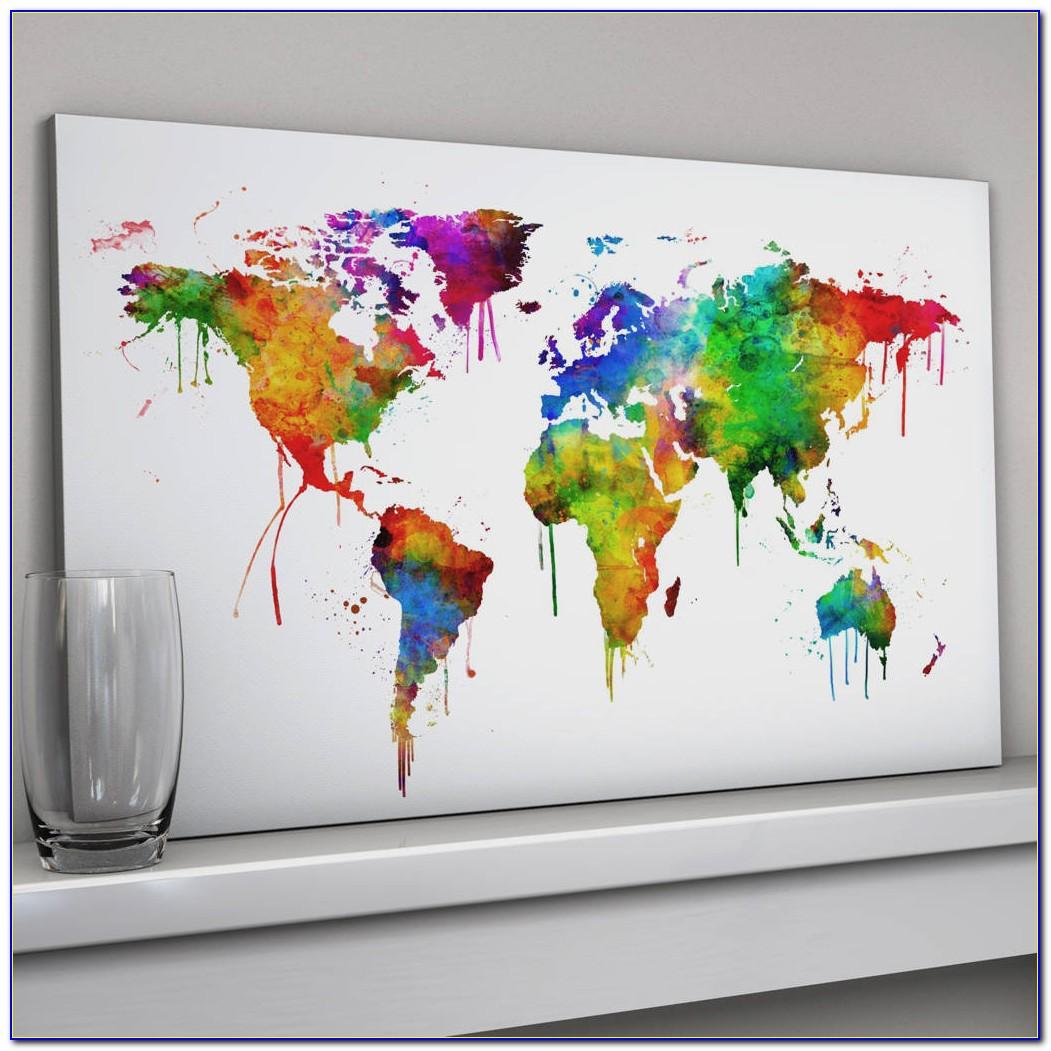 World Map Art Canvas