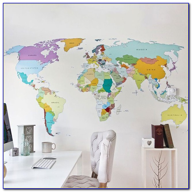 World Map Decal Wall