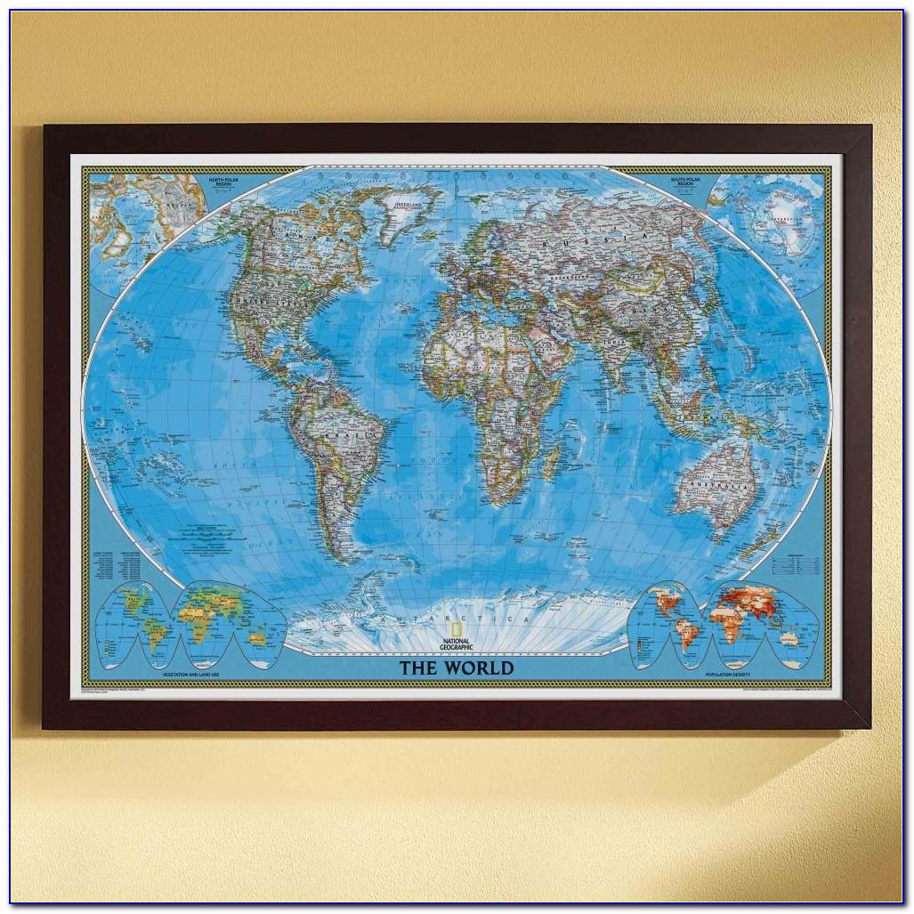 World Map Poster Framed