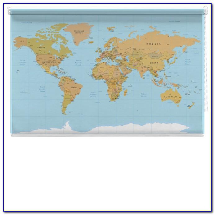 World Map Roller Blind