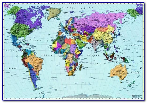 World Map Wall Mural Australia