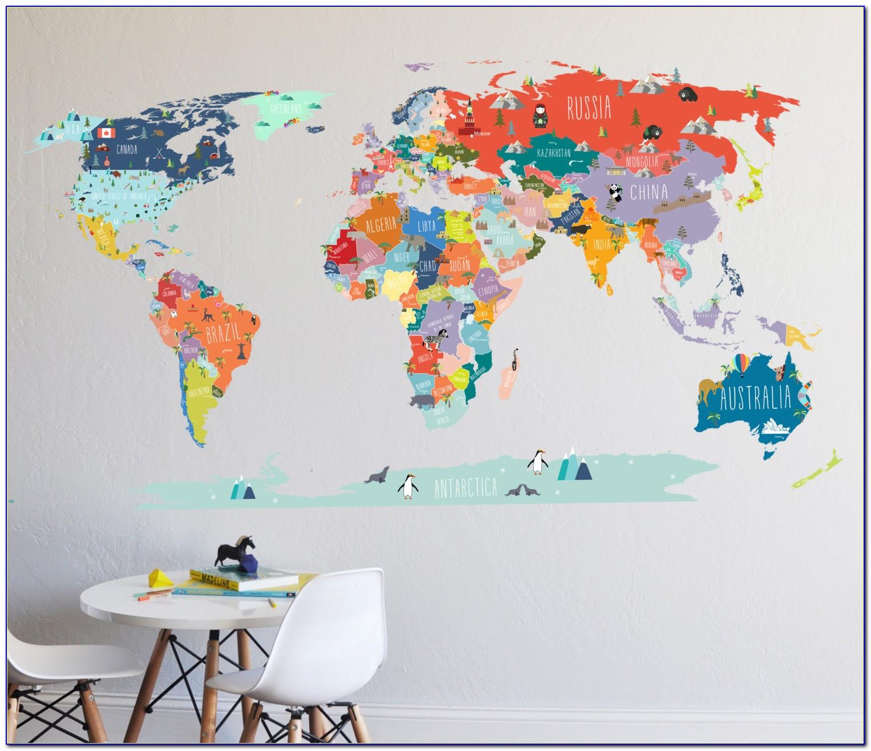 World Map Wall Sticker India