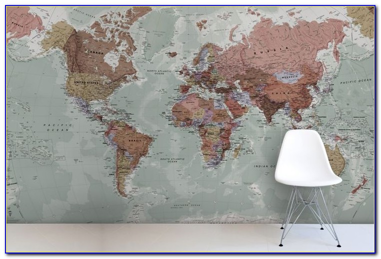 World Map Wallpaper Mural Black And White