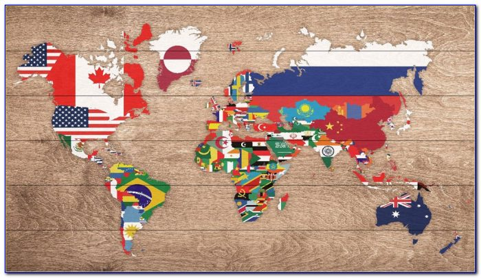 World Map With Flag Pins