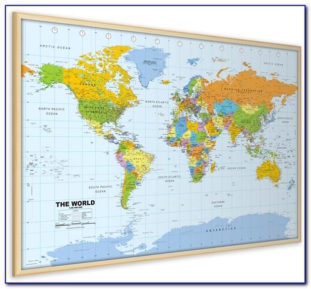 World Pinboard Map Wood Framed