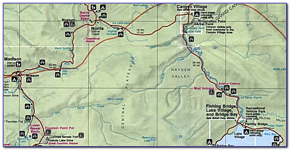 Yellowstone National Park Upper Loop Map