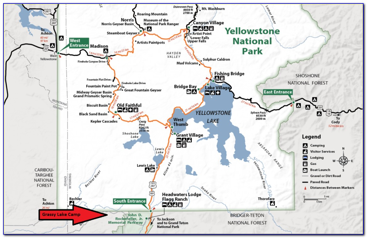 Yellowstone Upper And Lower Loop Map