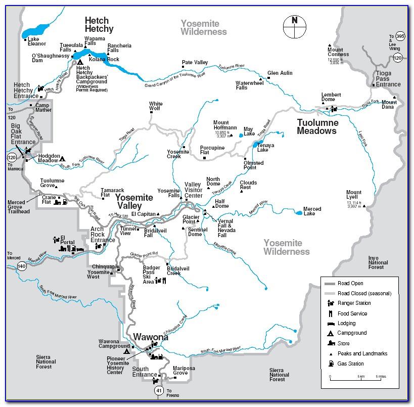 Yosemite Accommodation Map