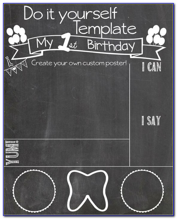 1st Birthday Chalkboard Template