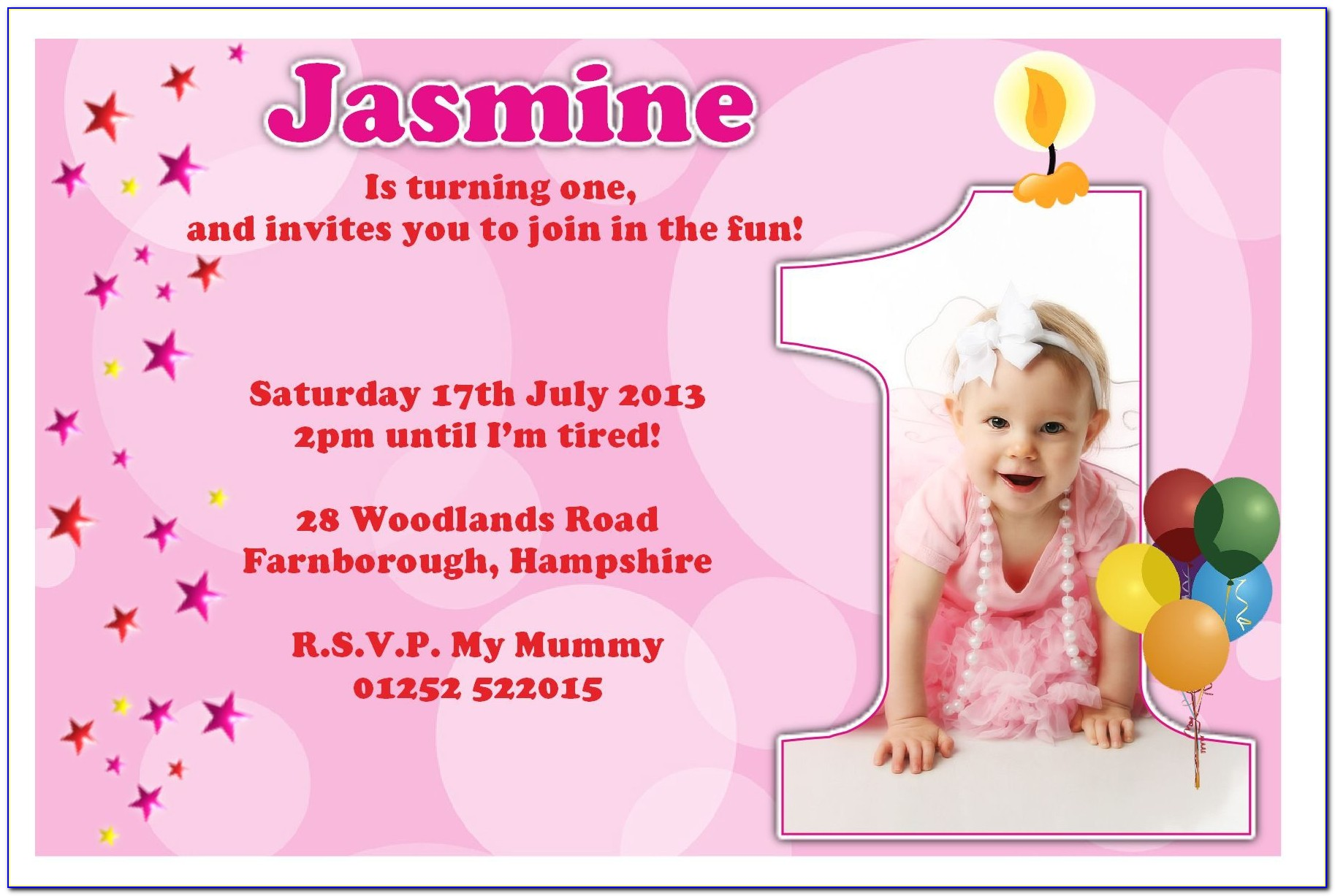 1st Birthday Invitation Card Template For Baby Girl