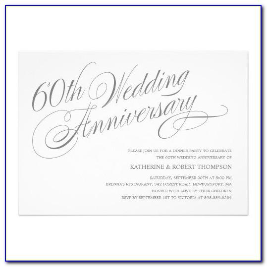 60th Wedding Anniversary Invitations Templates