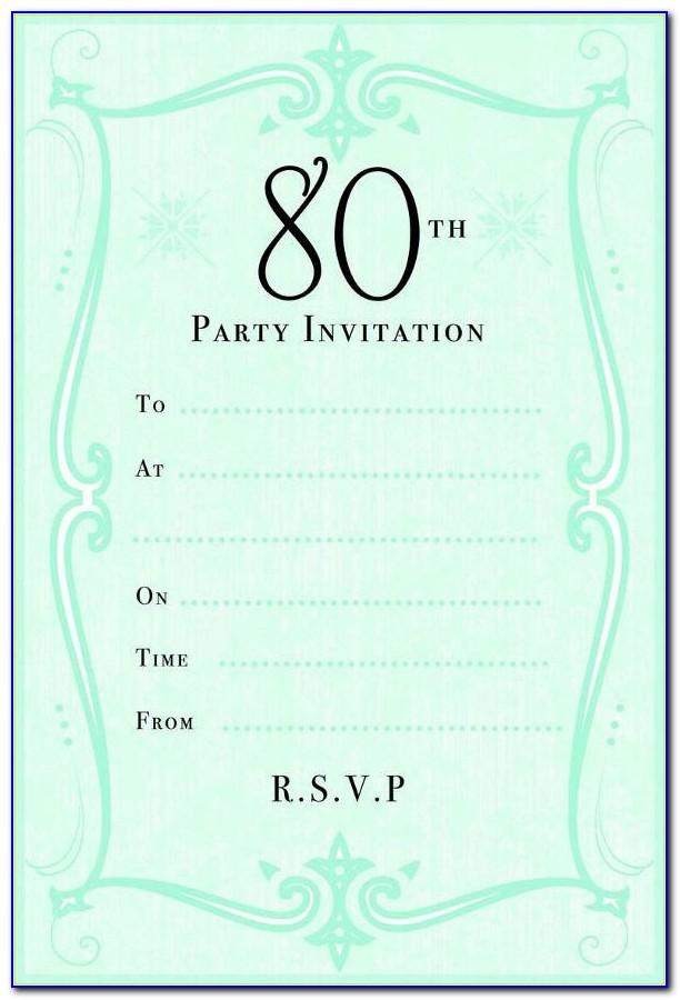 80th Birthday Invitation Templates Free Printable