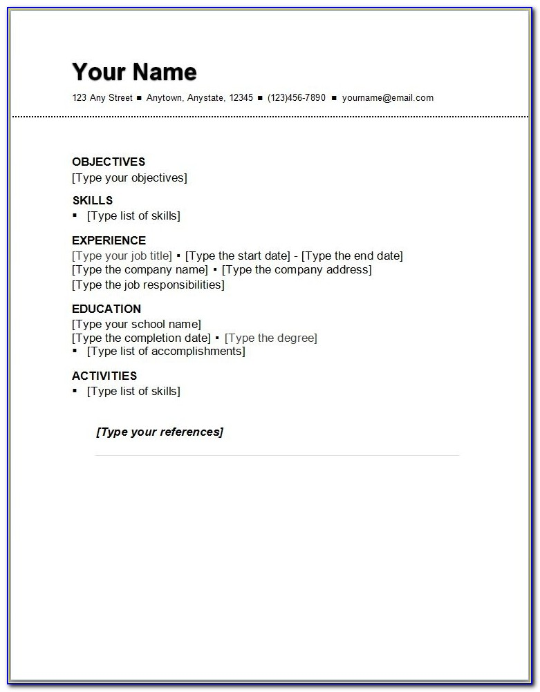 Basic Resume Outline Sample