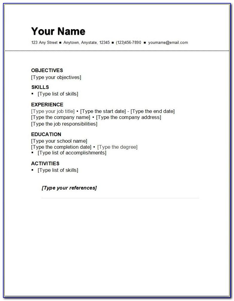 Basic Resume Outline Sample