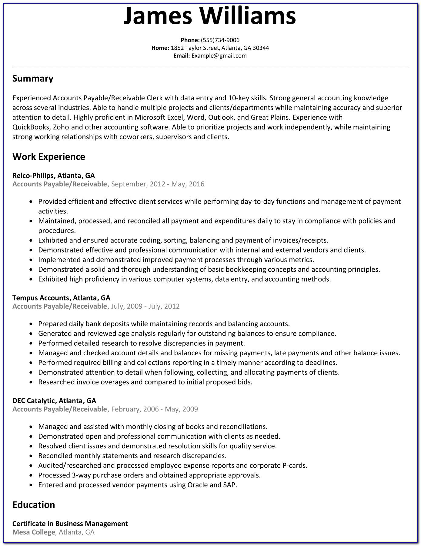 Accounts Payable Executive Resume Format