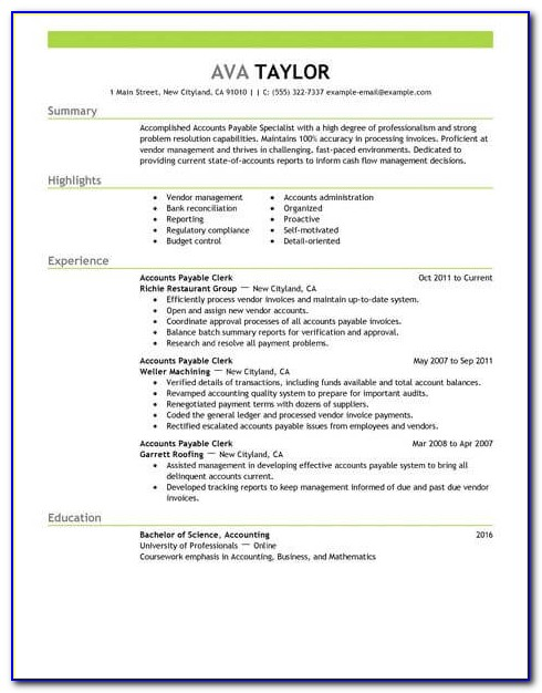 Accounts Payable Manager Resume Format