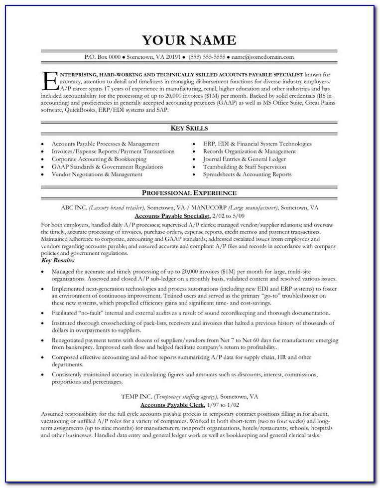 Accounts Payable Resume Format For Bpo