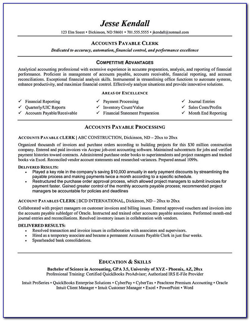 Accounts Payable Resume Sample Template