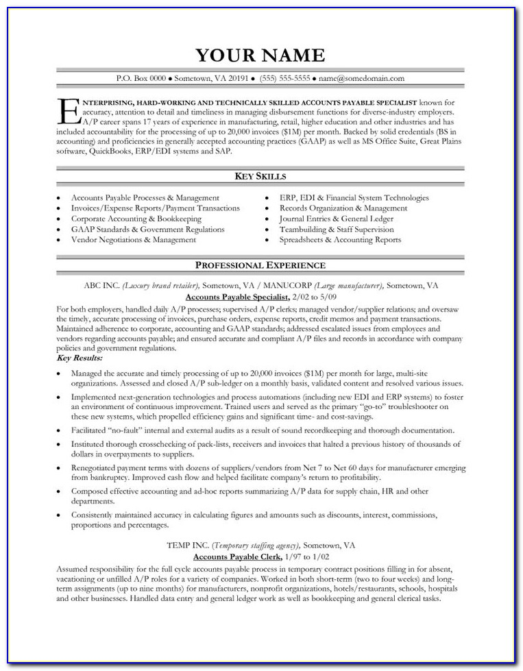 Accounts Payable Resume Sample