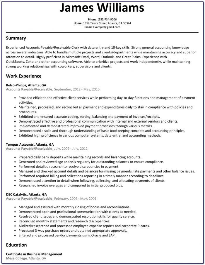 accounts payable resume skills  resume  resume examples