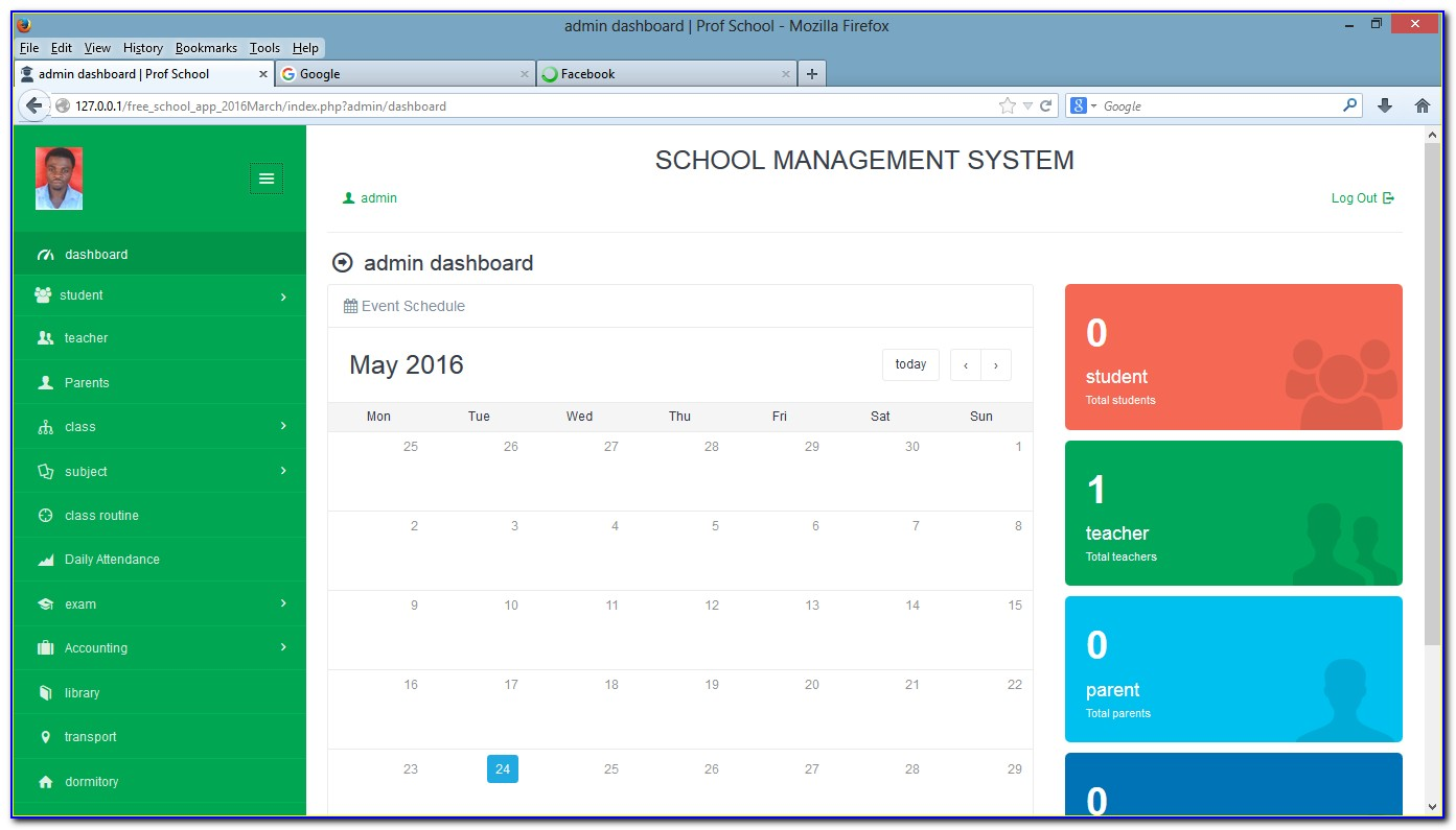 Admin Panel Template For School Management System Free Download