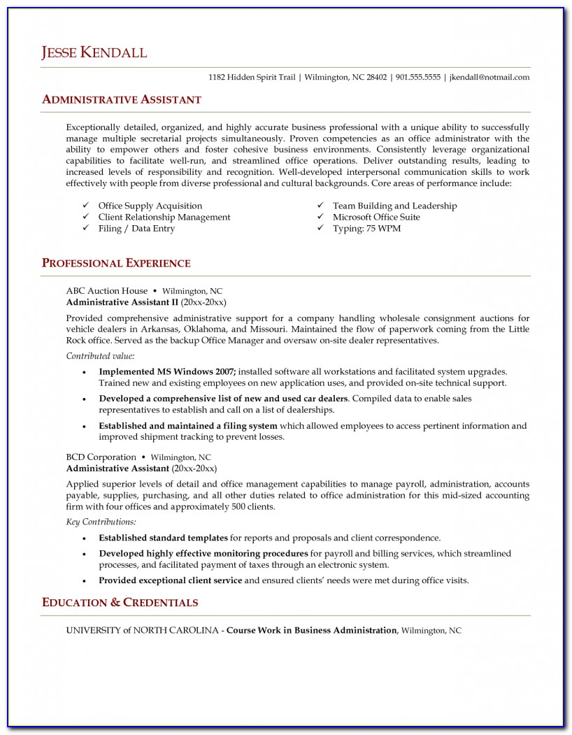 Administrative Assistant Resume Templates Free