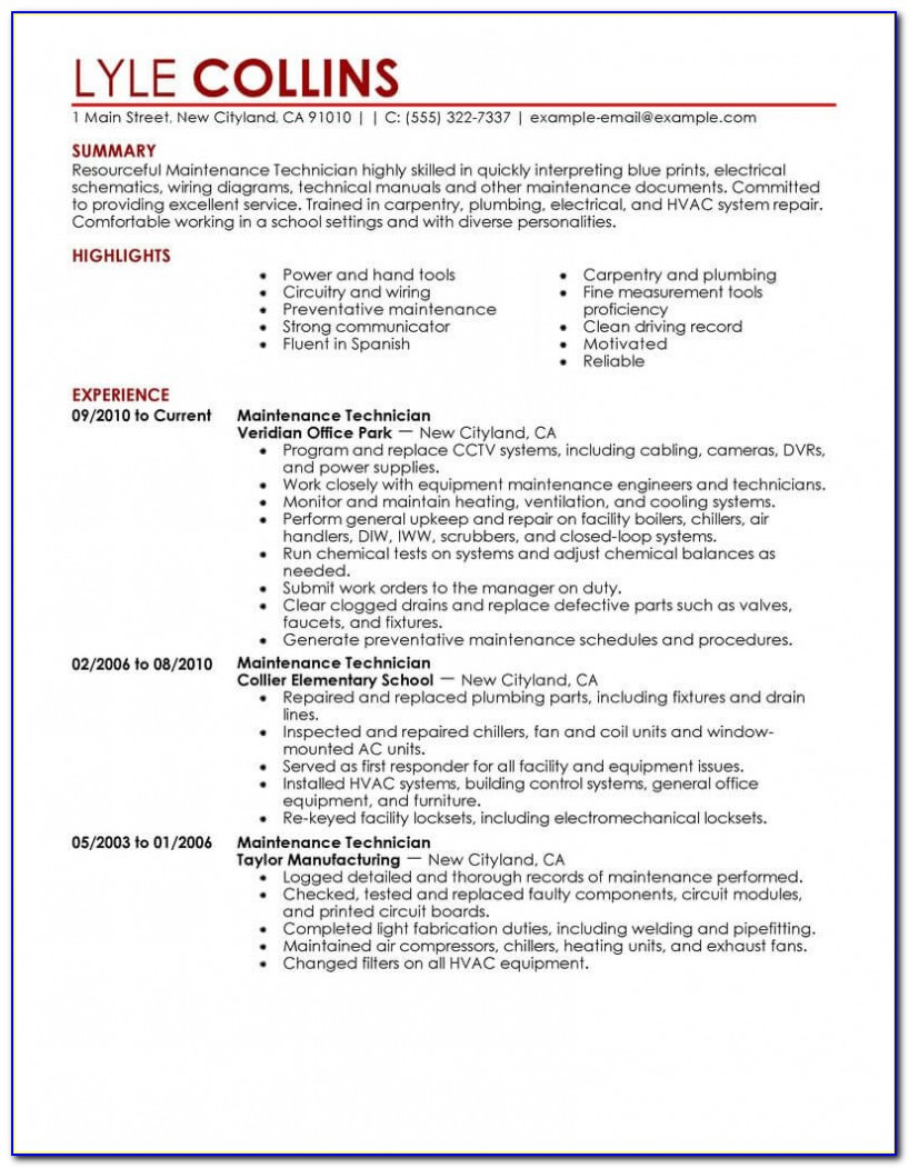 Maintenance Technician Resume Sample | Technician Resumes | Livecareer Industrial Maintenance Mechanic Resume Template