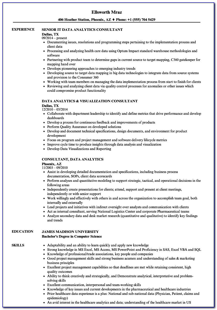 Analytics Consultant Resume