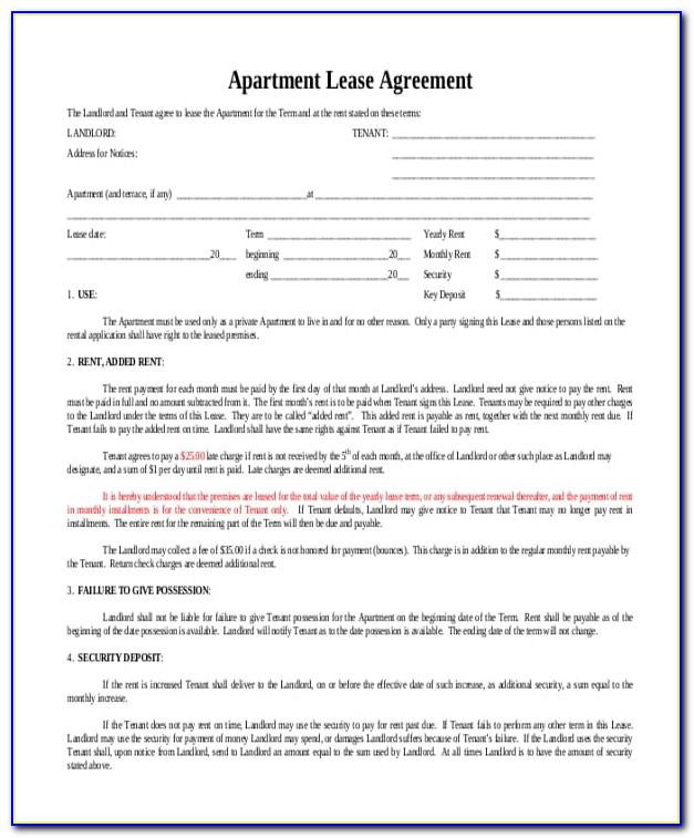 Apartment Lease Template Free