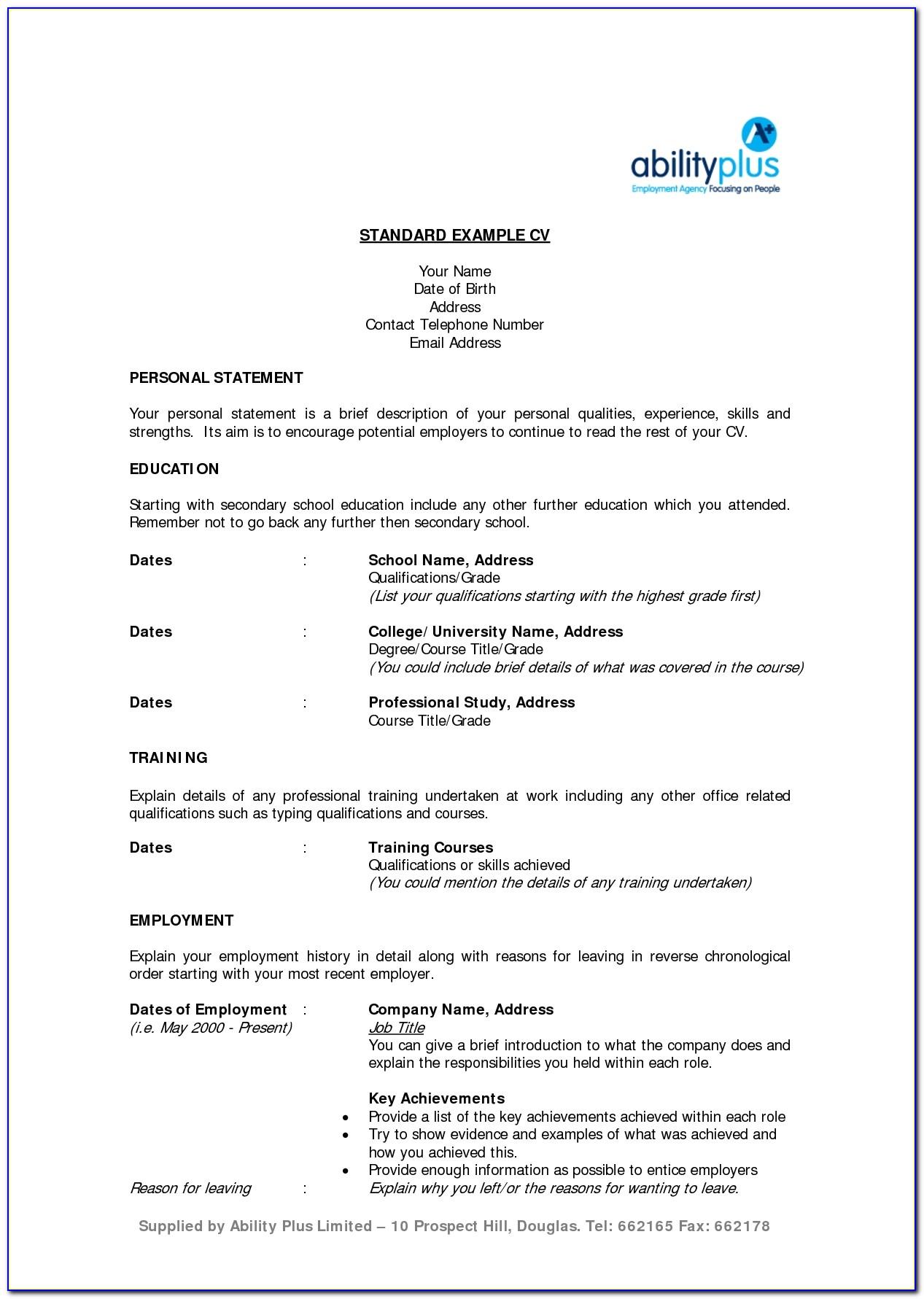 Standard Resume Example Resume Templates Inside Standard Resume Example
