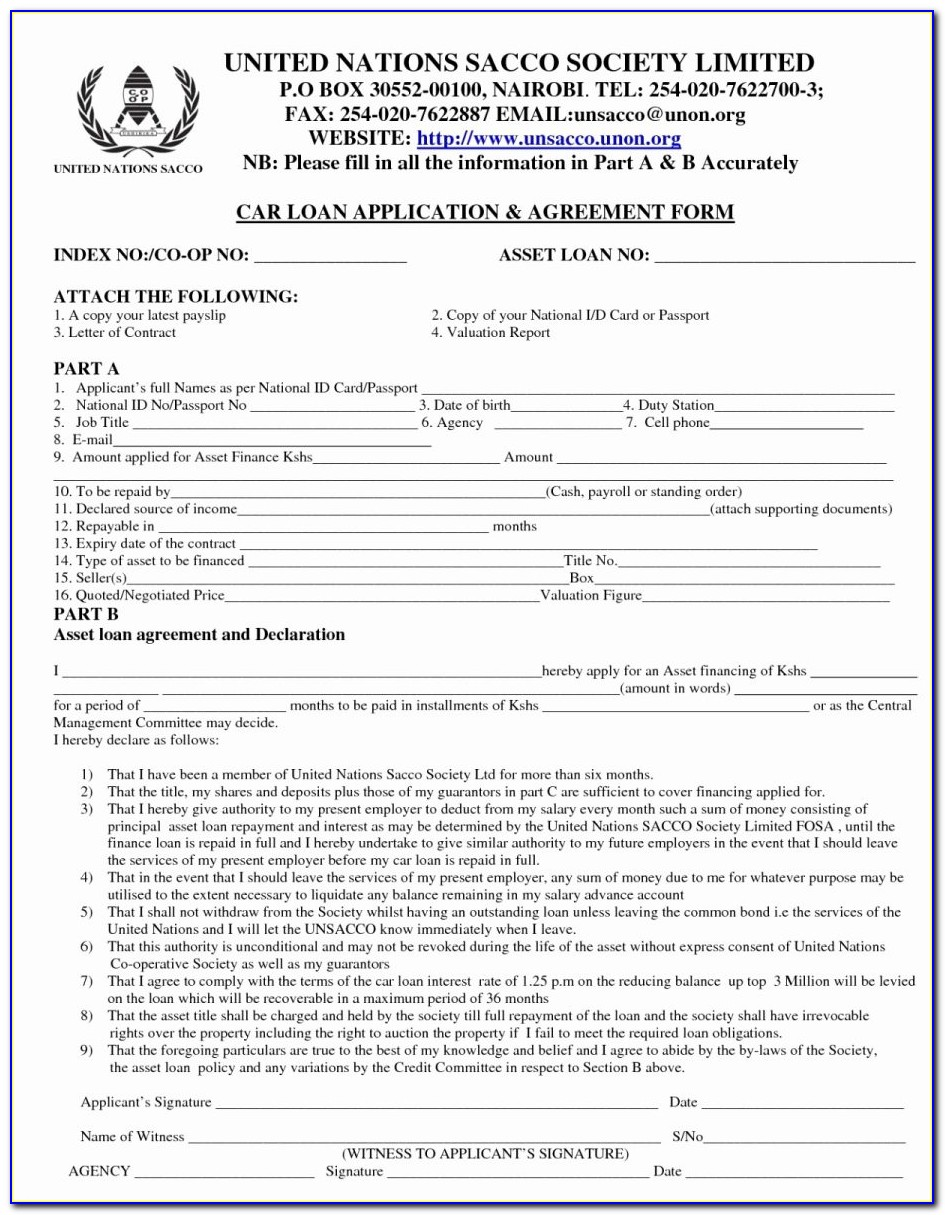 Auto Loan Contract Template