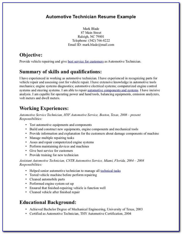 Automotive Service Technician Cv Template