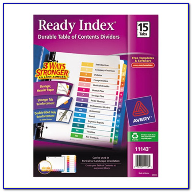 Avery Executive Ready Index Dividers 15 Tab Template