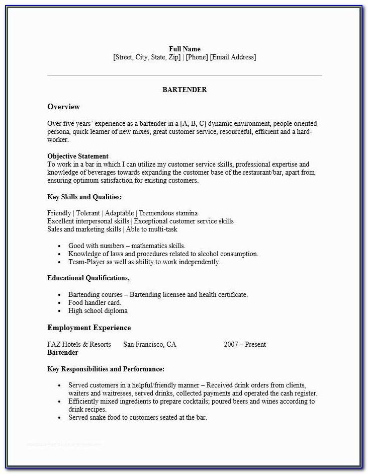 Bartender Resume And Bartender Resume Skills Template Resume Builder